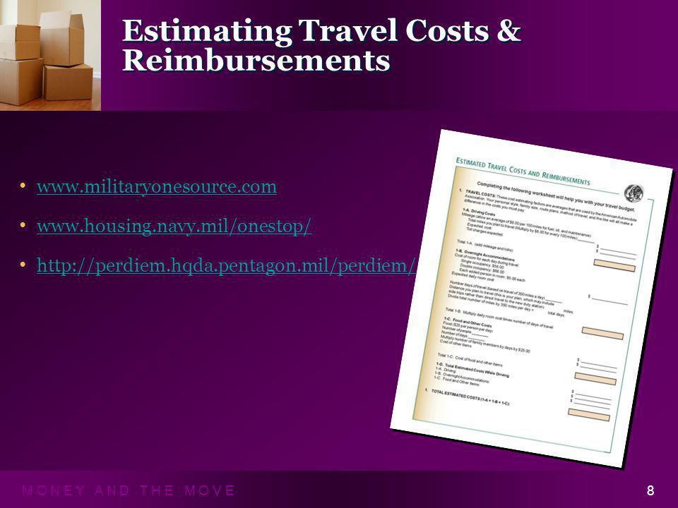M O N E Y A N D T H E M O V E8 Estimating Travel Costs & Reimbursements www.militaryonesource.com www.housing.navy.mil/onestop/ http://perdiem.hqda.pe