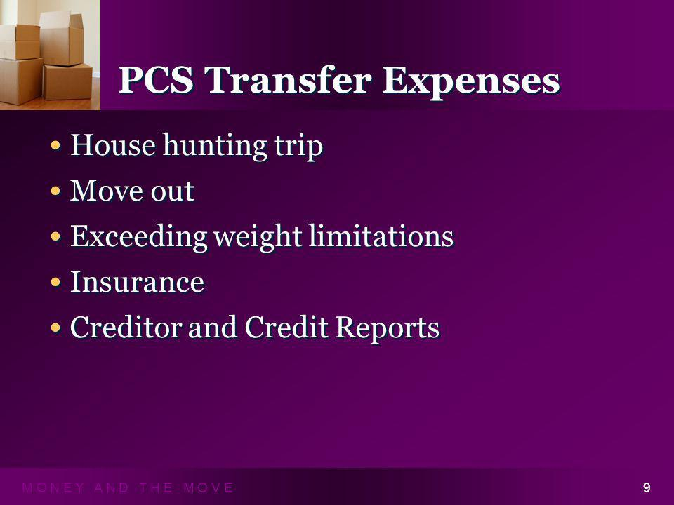 M O N E Y A N D T H E M O V E9 PCS Transfer Expenses House hunting trip Move out Exceeding weight limitations Insurance Creditor and Credit Reports House hunting trip Move out Exceeding weight limitations Insurance Creditor and Credit Reports