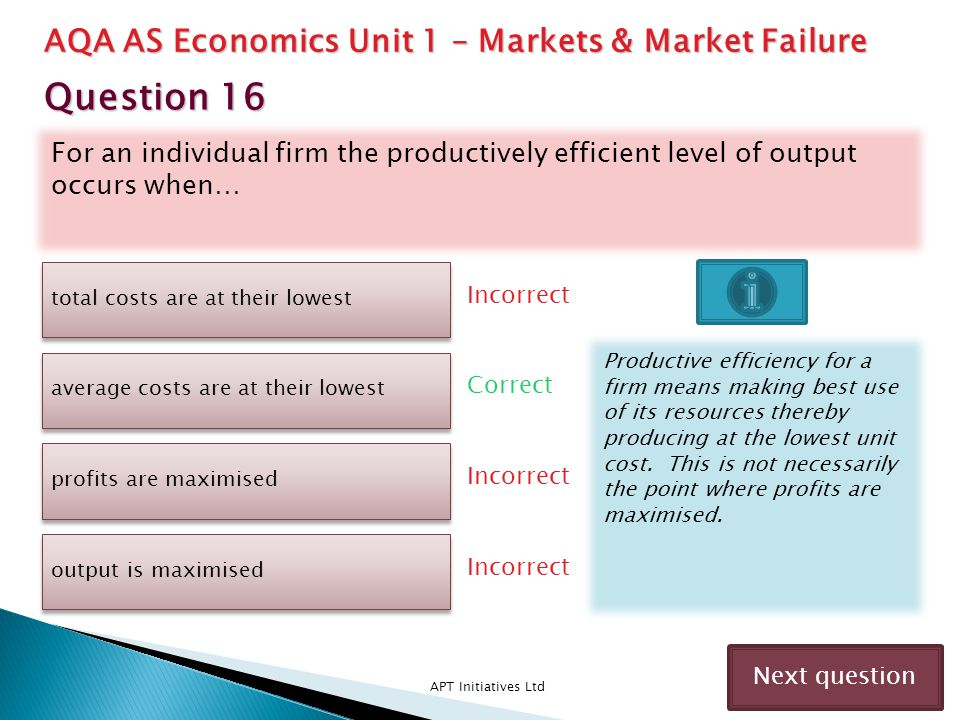 For an individual firm the productively efficient level of output occurs when… APT Initiatives Ltd Incorrect Next question total costs are at their lo