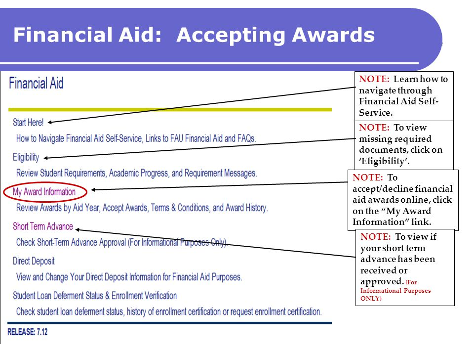 Financial Aid: Accepting Awards NOTE: To accept/decline financial aid awards online, click on the My Award Information link. NOTE: To view if your sho