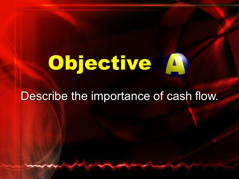 Objectives Describe the importance of cash flow. Describe the components of a cash flow statement.