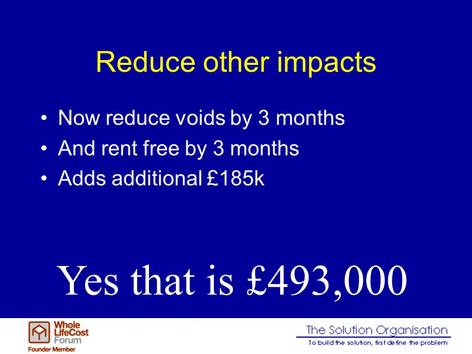 Reduce other impacts Now reduce voids by 3 months And rent free by 3 months Adds additional £185k Yes that is £493,000