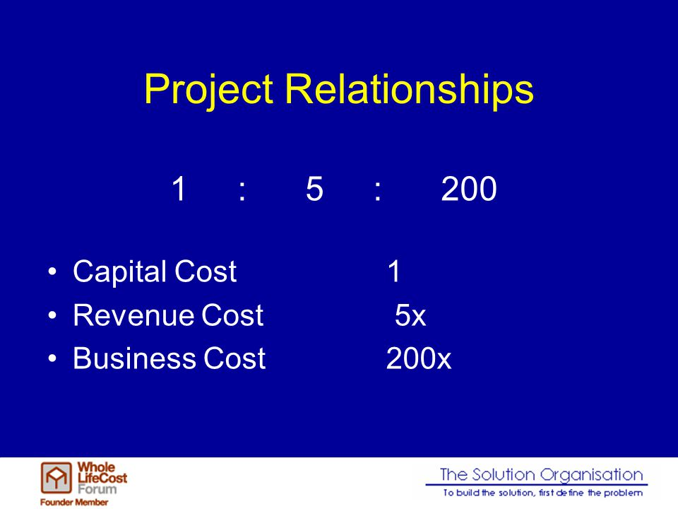 Project Relationships Capital Cost1 Revenue Cost 5x Business Cost200x 1:5:200