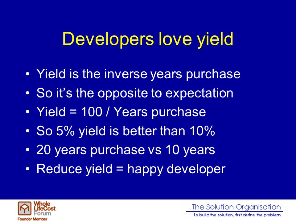 Developers hate voids The void is the time from completion to occupation There is also a rent free period Reduce void = happy developer Reduce rent free = happy developer Reduce both = very happy developer