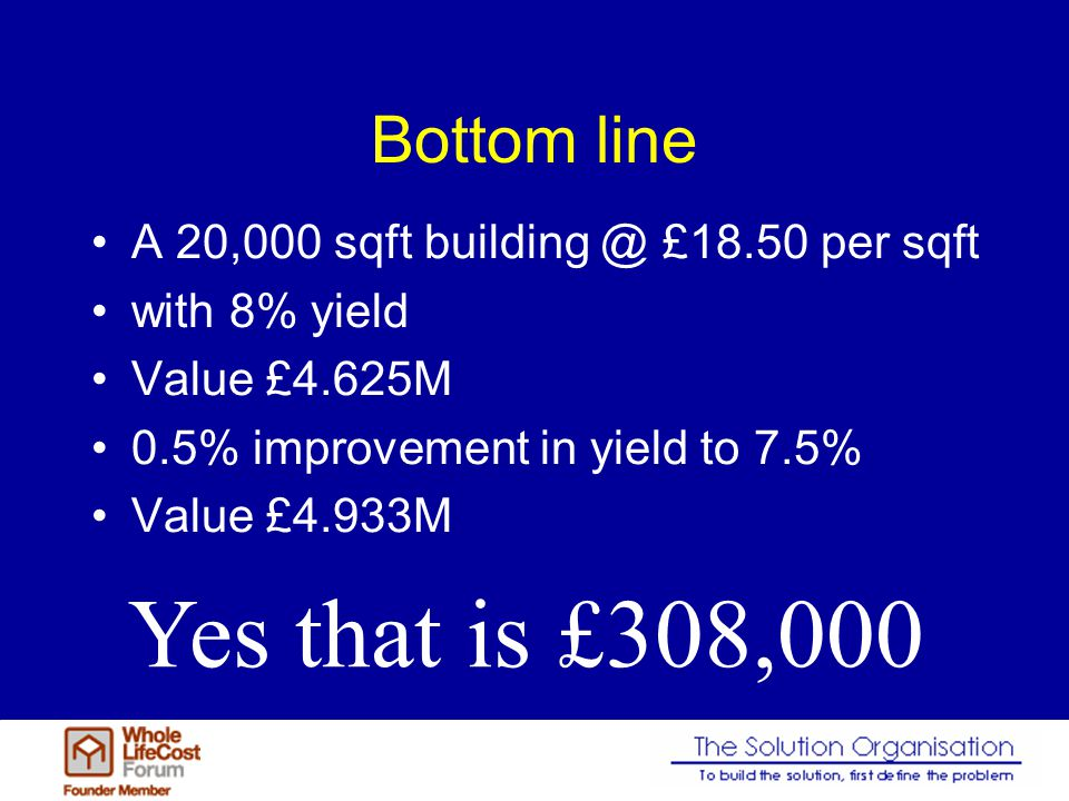 Bottom line A 20,000 sqft building @ £18.50 per sqft with 8% yield Value £4.625M 0.5% improvement in yield to 7.5% Value £4.933M Yes that is £308,000