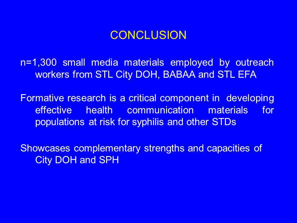 CONCLUSION n=1,300 small media materials employed by outreach workers from STL City DOH, BABAA and STL EFA Formative research is a critical component in developing effective health communication materials for populations at risk for syphilis and other STDs Showcases complementary strengths and capacities of City DOH and SPH
