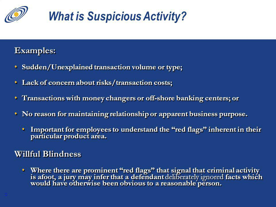 12 What is Suspicious Activity.