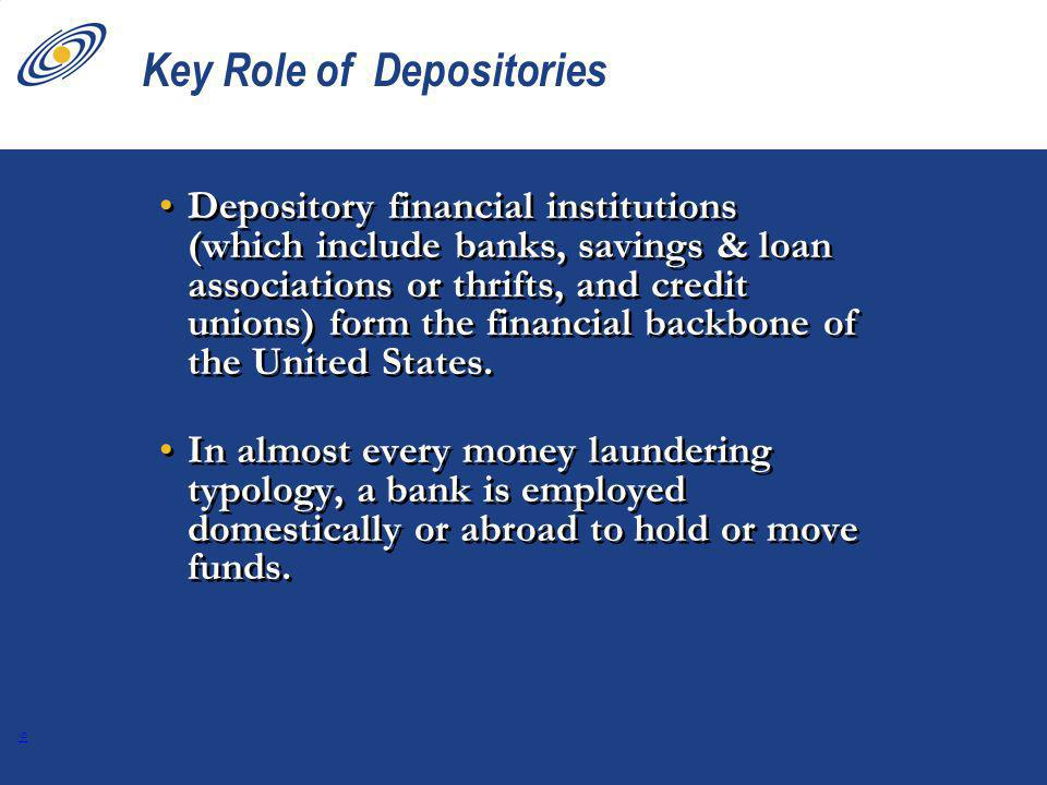 16 Key Role of Depositories Depository financial institutions (which include banks, savings & loan associations or thrifts, and credit unions) form the financial backbone of the United States.