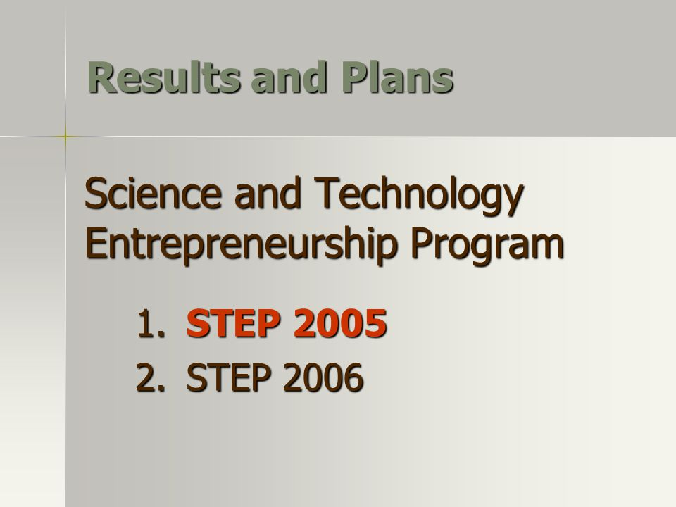 Science and Technology Entrepreneurship Program 1. STEP 2005 2. STEP 2006 Results and Plans