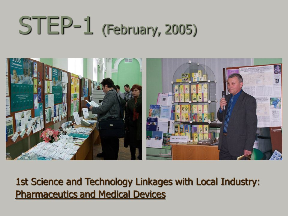 STEP-1 (February, 2005) 1st Science and Technology Linkages with Local Industry: Pharmaceutics and Medical Devices