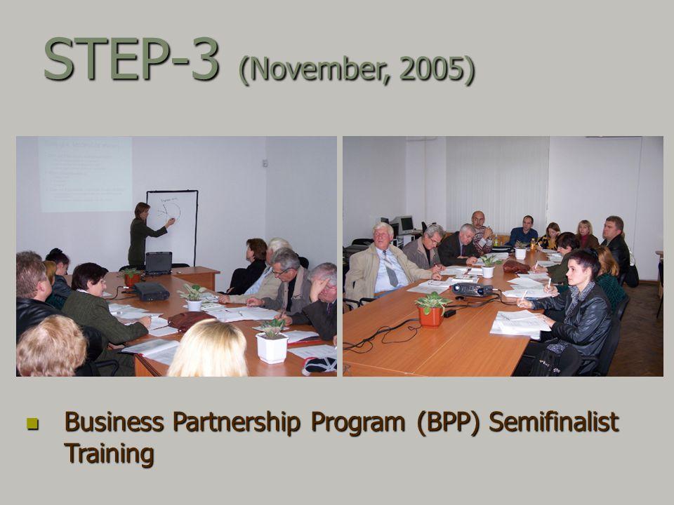Business Partnership Program (BPP) Semifinalist Training Business Partnership Program (BPP) Semifinalist Training STEP-3 (November, 2005)