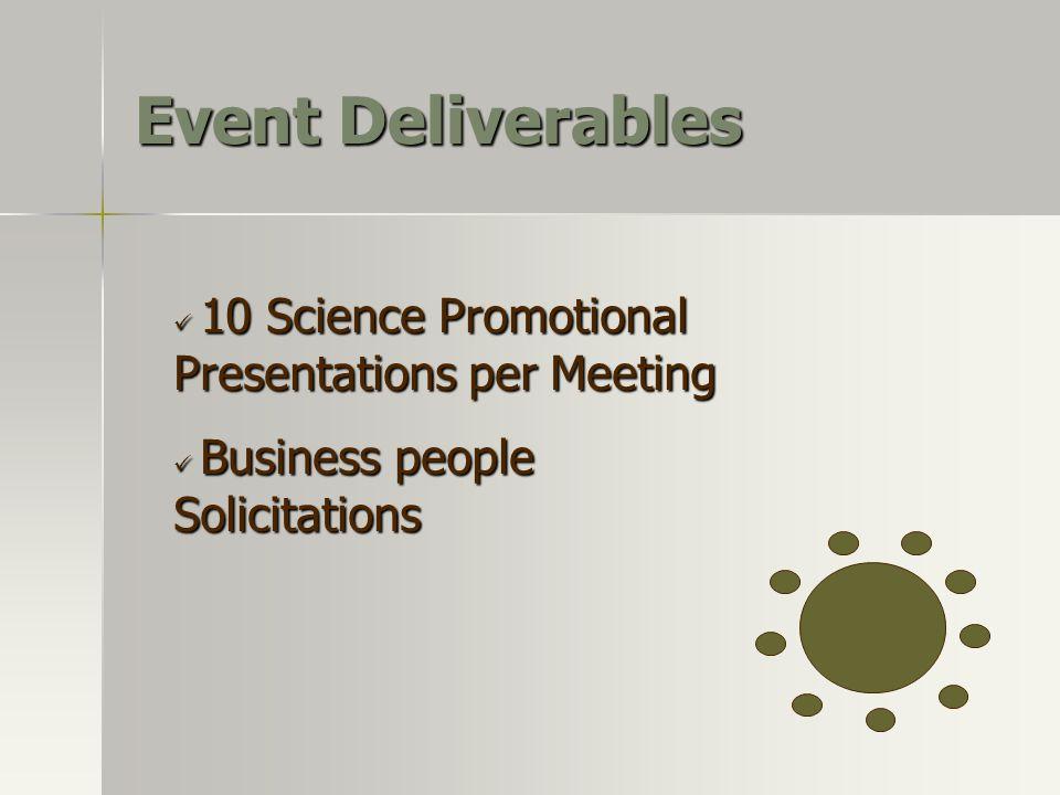 Event Deliverables 10 Science Promotional Presentations per Meeting 10 Science Promotional Presentations per Meeting Business people Solicitations Bus
