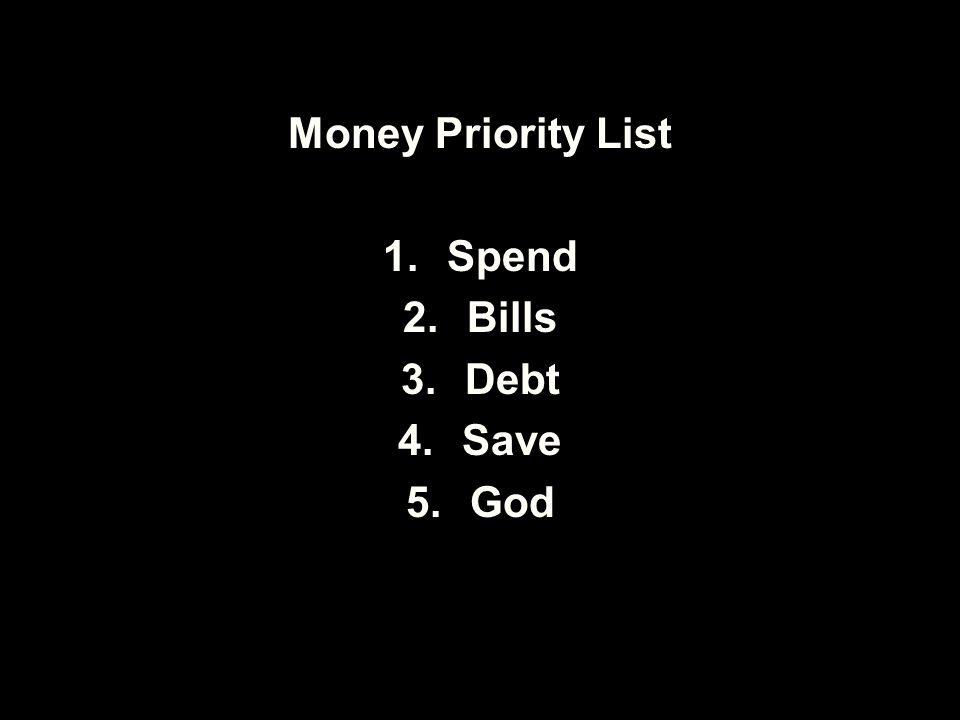Money Priority List 1.Spend 2.Bills 3.Debt 4.Save 5.God