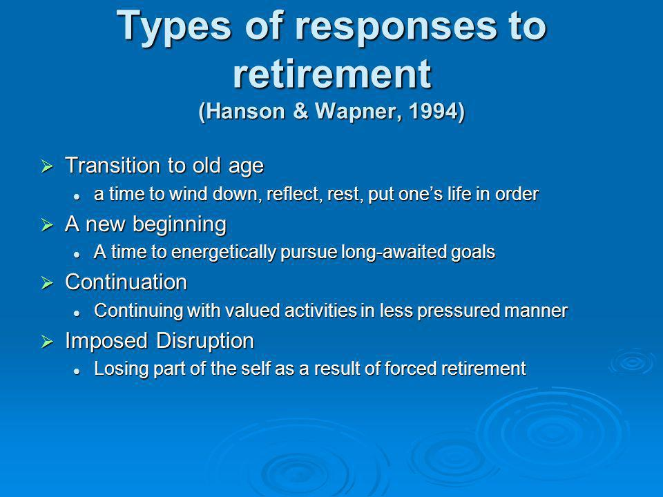Types of responses to retirement (Hanson & Wapner, 1994) Transition to old age Transition to old age a time to wind down, reflect, rest, put ones life