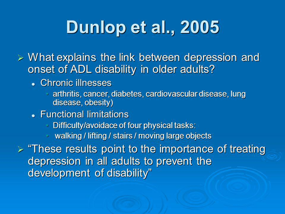 What explains the link between depression and onset of ADL disability in older adults? What explains the link between depression and onset of ADL disa