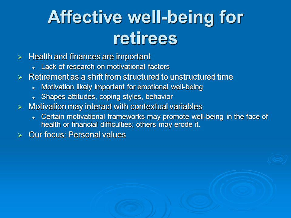 Affective well-being for retirees Health and finances are important Health and finances are important Lack of research on motivational factors Lack of