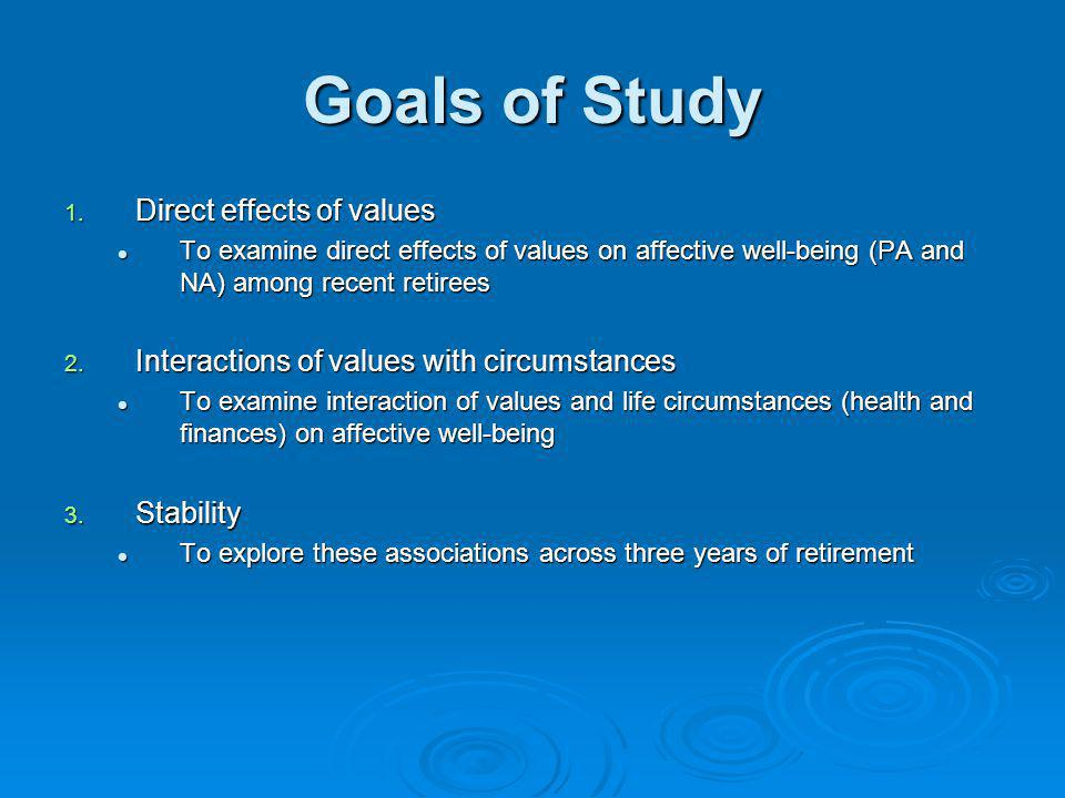 Goals of Study 1. Direct effects of values To examine direct effects of values on affective well-being (PA and NA) among recent retirees To examine di