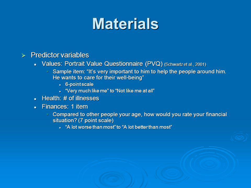 Materials Predictor variables Predictor variables Values: Portrait Value Questionnaire (PVQ) (Schwartz et al., 2001) Values: Portrait Value Questionna