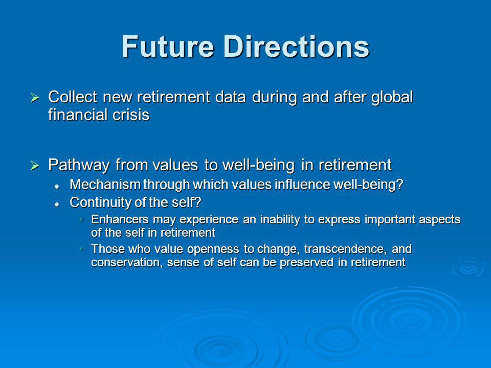 Future Directions Collect new retirement data during and after global financial crisis Collect new retirement data during and after global financial c