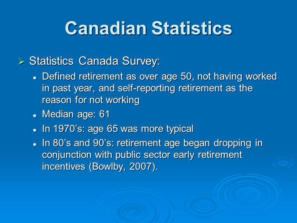Canadian Statistics Statistics Canada Survey: Statistics Canada Survey: Defined retirement as over age 50, not having worked in past year, and self-re