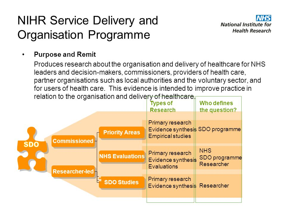 NIHR Service Delivery and Organisation Programme Purpose and Remit Produces research about the organisation and delivery of healthcare for NHS leaders and decision-makers, commissioners, providers of health care, partner organisations such as local authorities and the voluntary sector, and for users of health care.