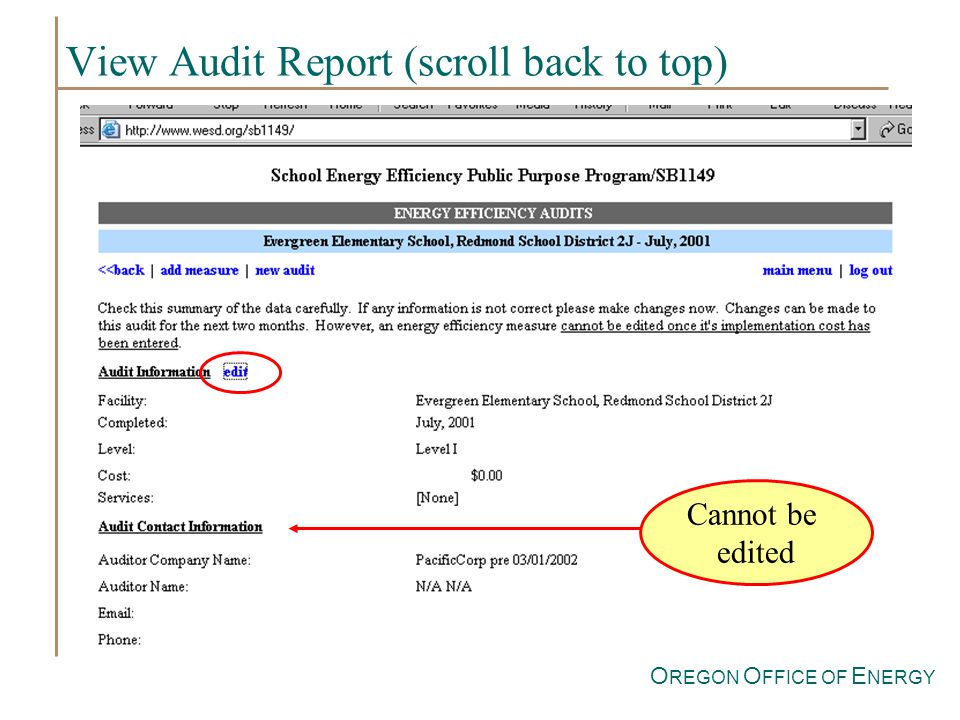 O REGON O FFICE OF E NERGY View Audit Report (scroll back to top) Cannot be edited