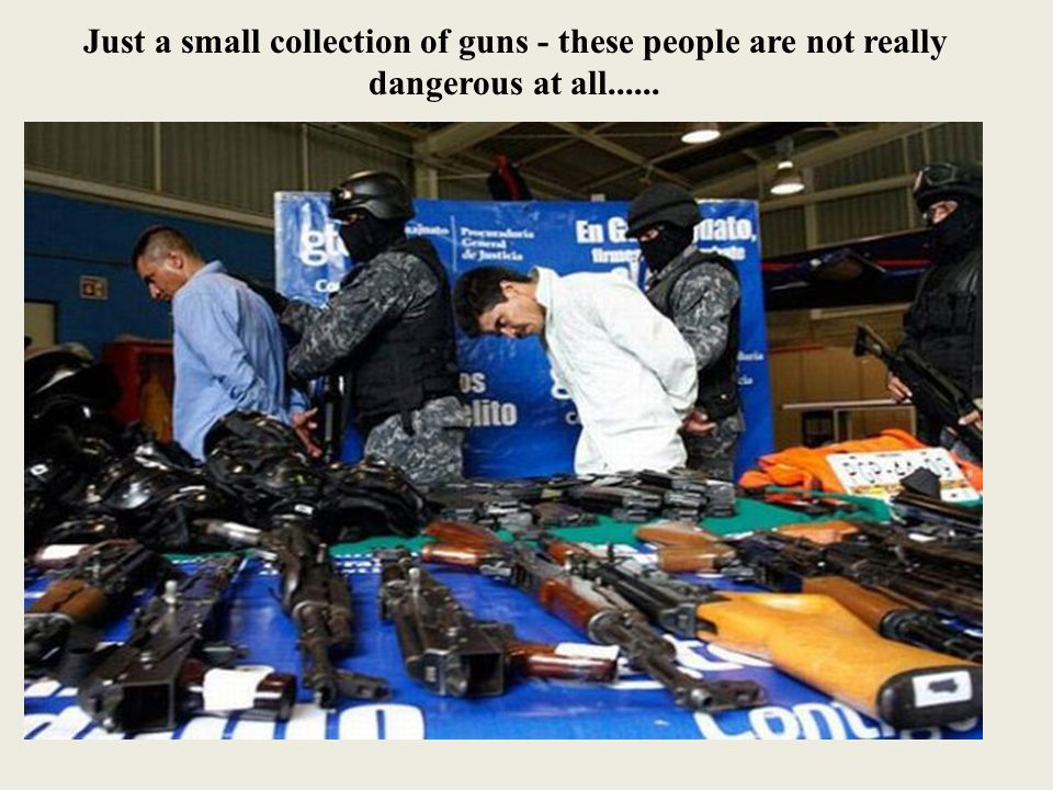 Just a small collection of guns - these people are not really dangerous at all......