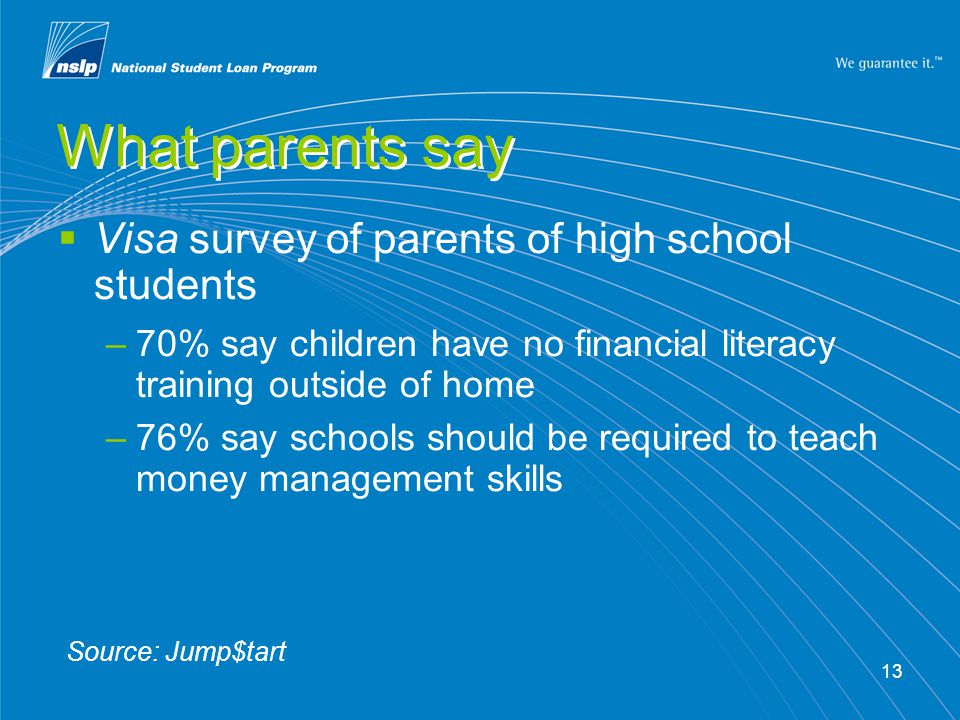 13 What parents say Visa survey of parents of high school students –70% say children have no financial literacy training outside of home –76% say schools should be required to teach money management skills Source: Jump$tart