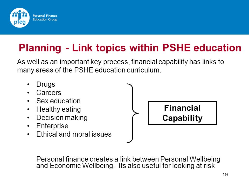 Planning - Link topics within PSHE education Drugs Careers Sex education Healthy eating Decision making Enterprise Ethical and moral issues Personal finance creates a link between Personal Wellbeing and Economic Wellbeing.