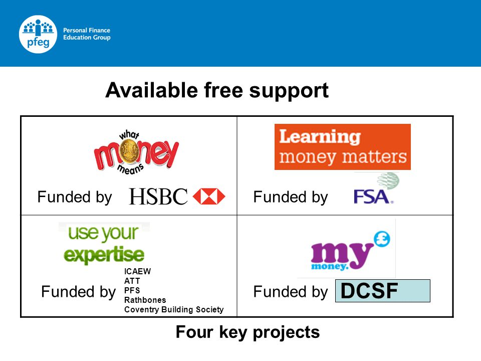 Four key projects Available free support Funded by DCSF ICAEW ATT PFS Rathbones Coventry Building Society