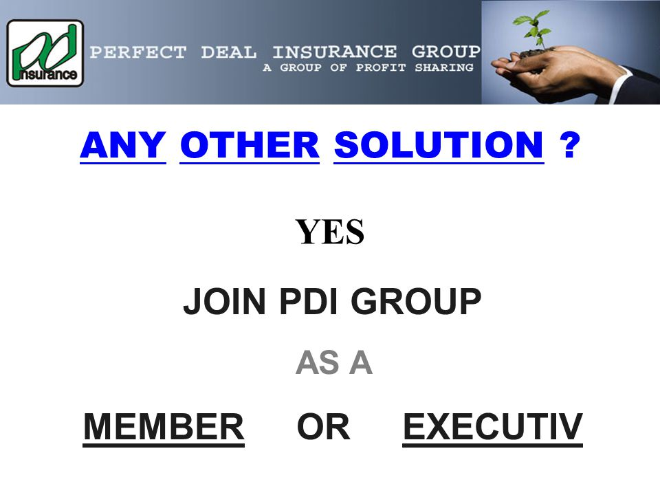 ANY OTHER SOLUTION YES JOIN PDI GROUP AS A MEMBER OR EXECUTIV
