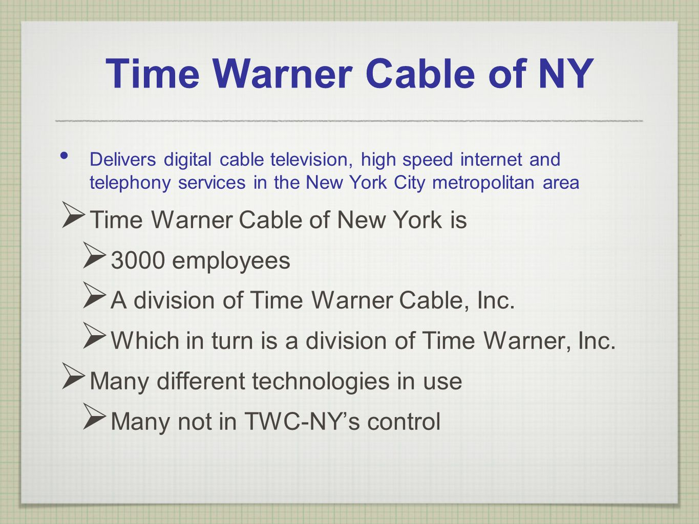 Time Warner Cable of NY Delivers digital cable television, high speed internet and telephony services in the New York City metropolitan area Time Warn