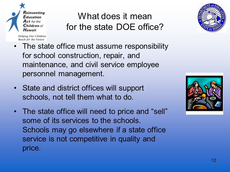 10 What does it mean for the state DOE office? The state office must assume responsibility for school construction, repair, and maintenance, and civil