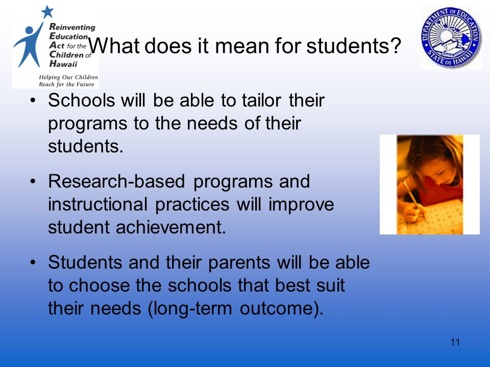 11 What does it mean for students? Schools will be able to tailor their programs to the needs of their students. Research-based programs and instructi