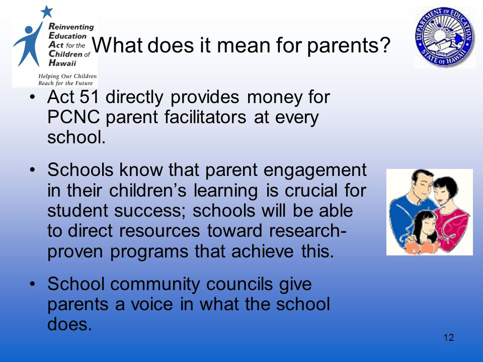 12 What does it mean for parents? Act 51 directly provides money for PCNC parent facilitators at every school. Schools know that parent engagement in