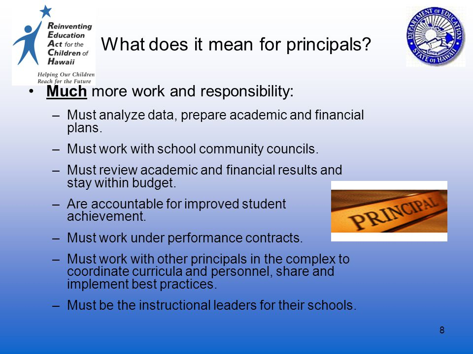 8 What does it mean for principals? Much more work and responsibility: –Must analyze data, prepare academic and financial plans. –Must work with schoo