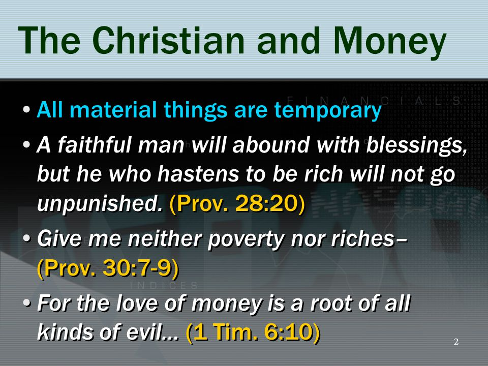 You are a Steward of All You Possess (Luke 16:1-13) Steward (oikonomos): the manager of a household or estate (oikos, a house, and nemo, to arrange) How you view money determines how you use it Be faithful with what is placed in your hand, 16:1-2, 8-12 Remember who is your Master, 16:13 Steward (oikonomos): the manager of a household or estate (oikos, a house, and nemo, to arrange) How you view money determines how you use it Be faithful with what is placed in your hand, 16:1-2, 8-12 Remember who is your Master, 16:13