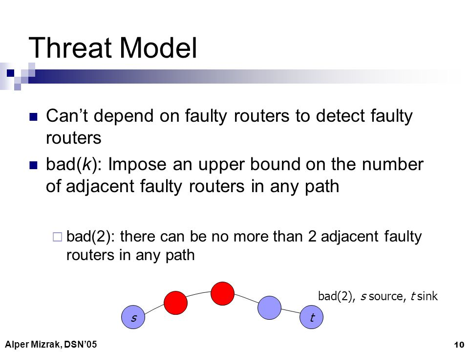 Alper Mizrak, DSN05 10 Threat Model Cant depend on faulty routers to detect faulty routers bad(k): Impose an upper bound on the number of adjacent faulty routers in any path bad(2): there can be no more than 2 adjacent faulty routers in any path st bad(2), s source, t sink