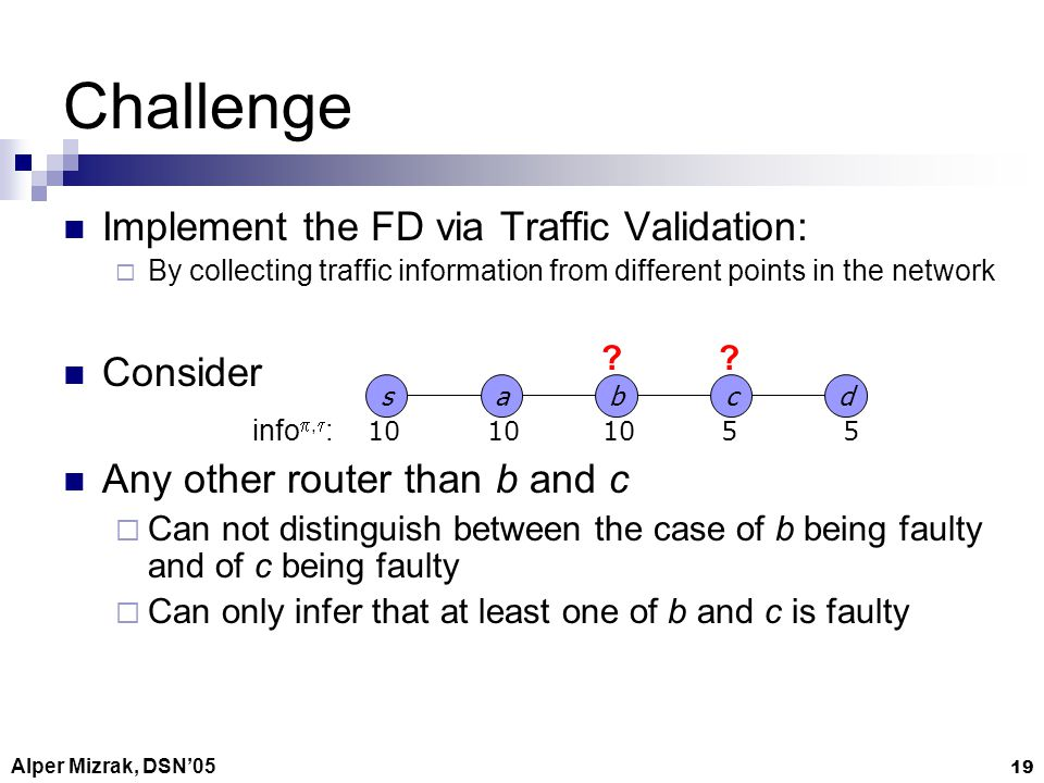 Alper Mizrak, DSN05 19 Challenge Implement the FD via Traffic Validation: By collecting traffic information from different points in the network Consider Any other router than b and c Can not distinguish between the case of b being faulty and of c being faulty Can only infer that at least one of b and c is faulty sab d c 10 55 info, :