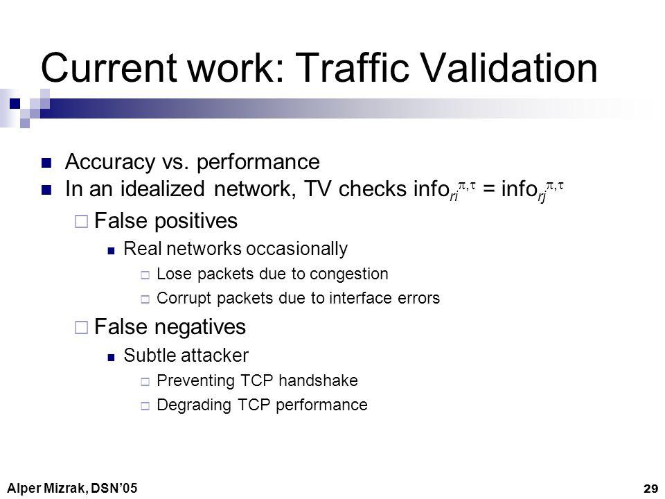 Alper Mizrak, DSN05 29 Current work: Traffic Validation Accuracy vs.