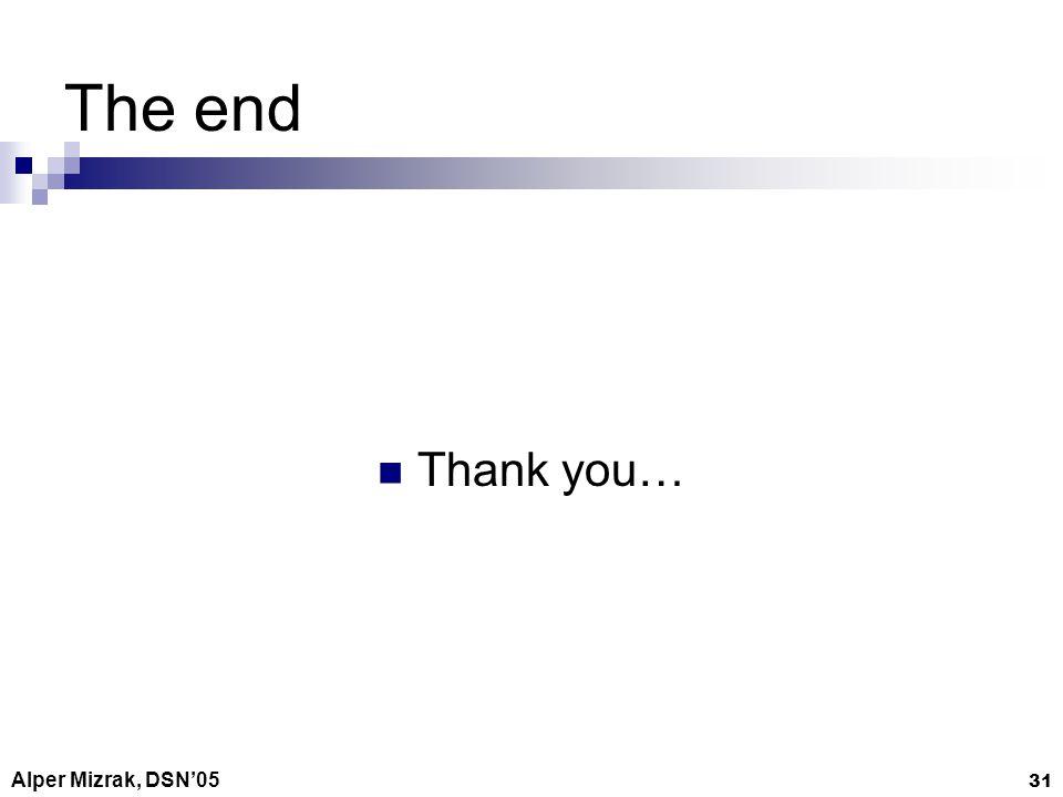Alper Mizrak, DSN05 31 The end Thank you…