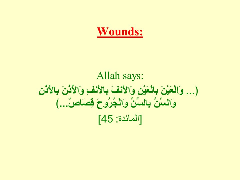 Wounds: Allah says:...