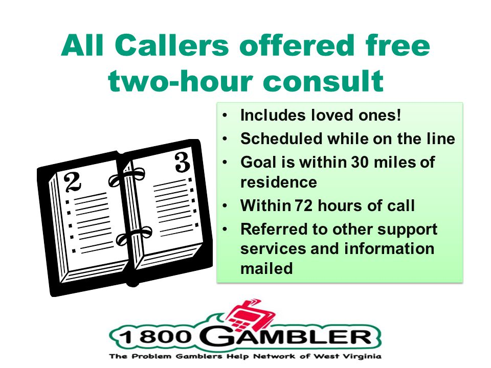 All Callers offered free two-hour consult Includes loved ones.