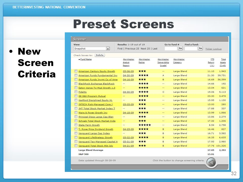 BETTERINVESTING NATIONAL CONVENTION Preset Screens New Screen Criteria 32