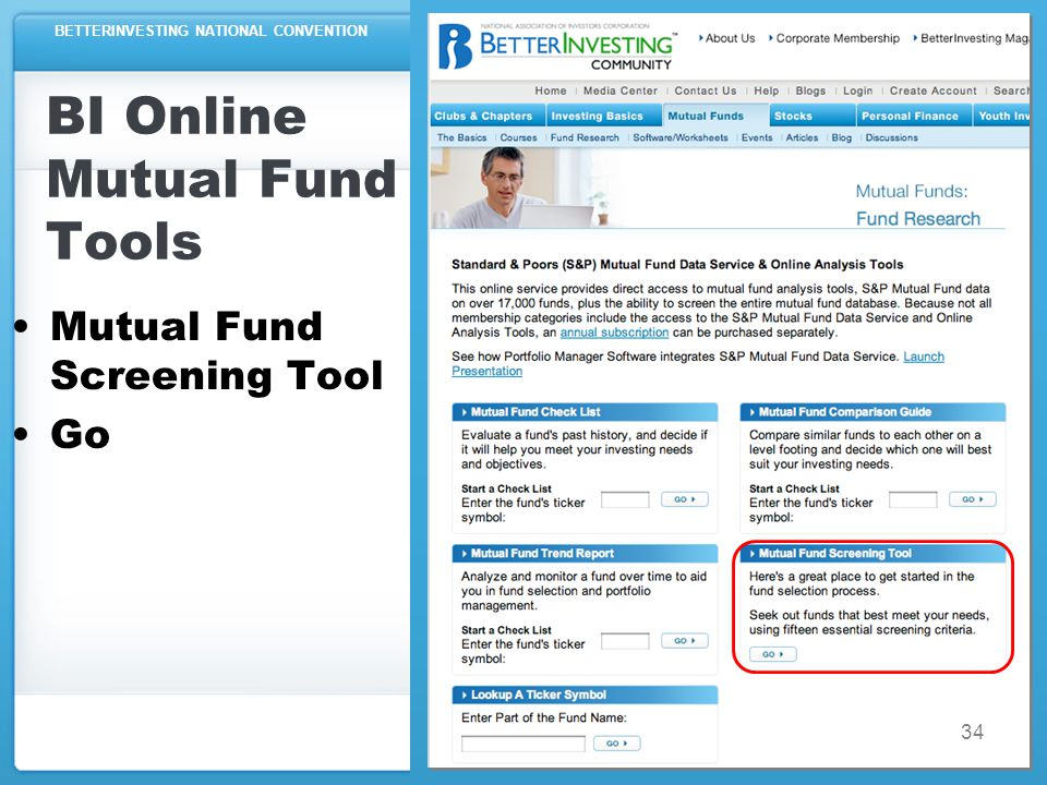 BETTERINVESTING NATIONAL CONVENTION BI Online Mutual Fund Tools Mutual Fund Screening Tool Go 34