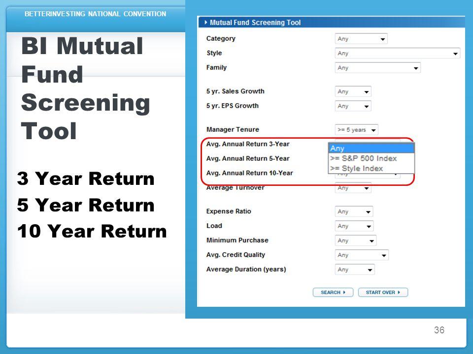 BETTERINVESTING NATIONAL CONVENTION BI Mutual Fund Screening Tool 3 Year Return 5 Year Return 10 Year Return 36