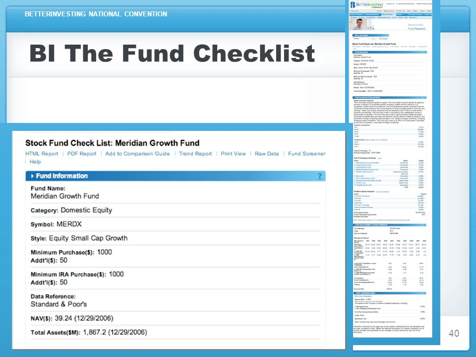 BETTERINVESTING NATIONAL CONVENTION BI The Fund Checklist 40