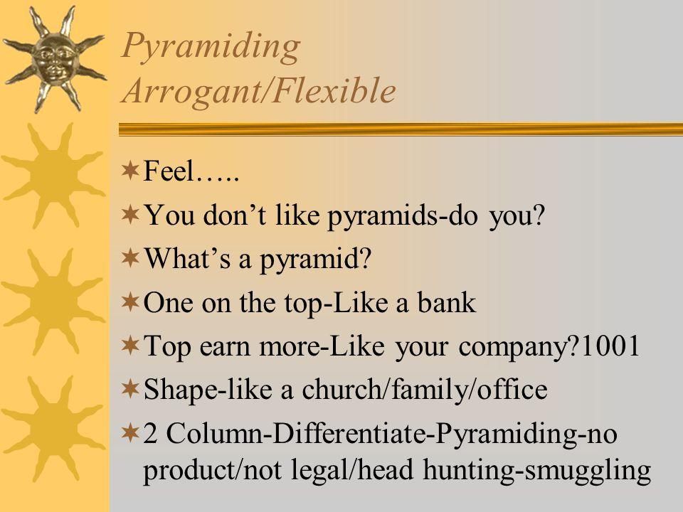 Pyramiding Arrogant/Flexible Feel….. You dont like pyramids-do you.