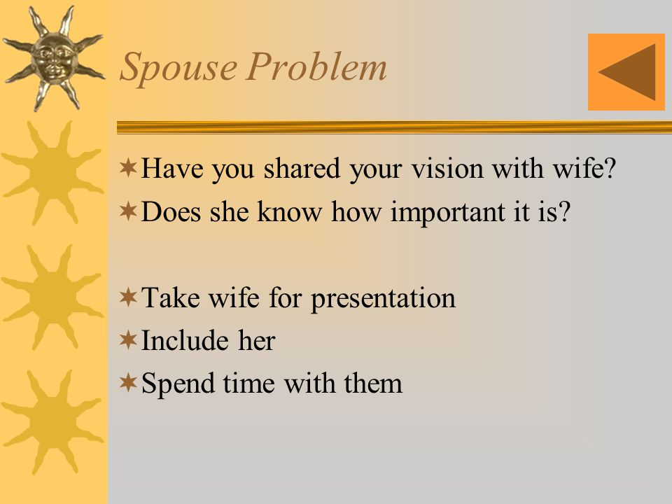 Spouse Problem Have you shared your vision with wife.