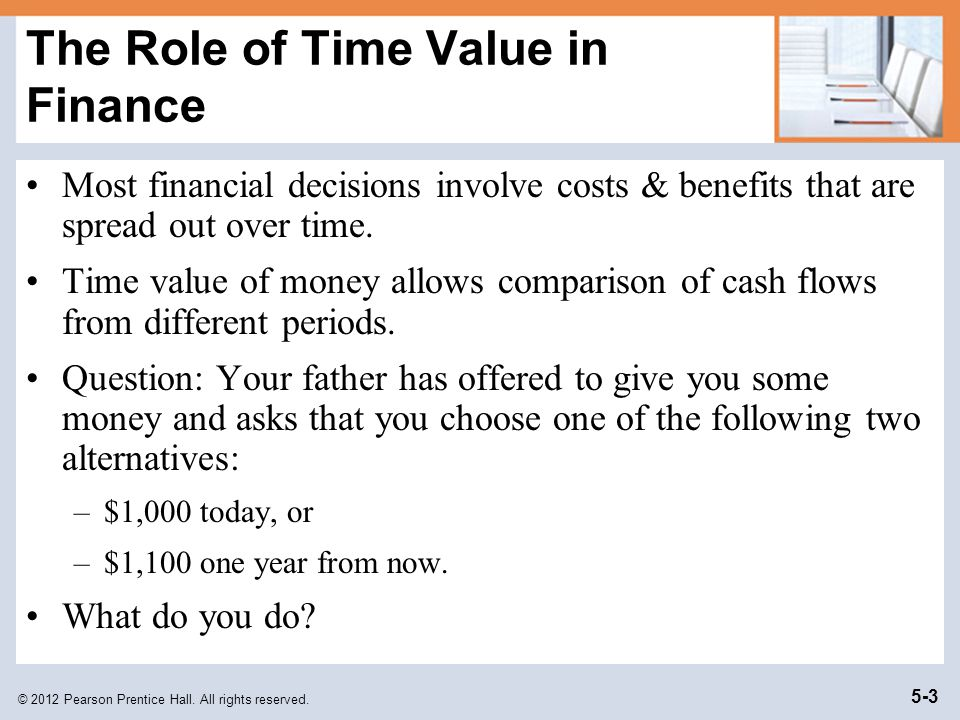 © 2012 Pearson Prentice Hall. All rights reserved. 5-3 The Role of Time Value in Finance Most financial decisions involve costs & benefits that are sp